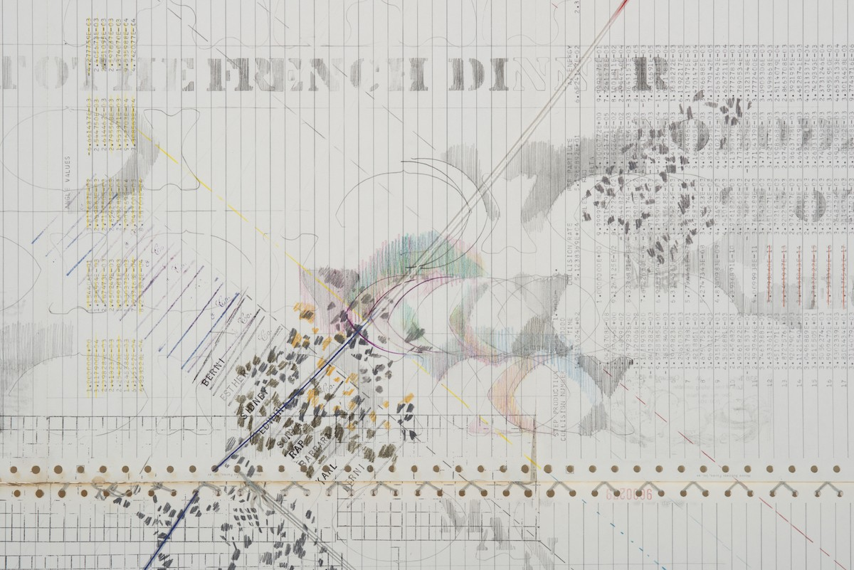 "Sonya Rapport, ""French Dinner"", mid-1976. Pencil, Prismacolor, ink stamp, solvent transfer and stitched and tied yarn with metallic threading on pre-printed and pre-stamped found perforated continuous feed computer printout paper, 45"" x 55.125""."
